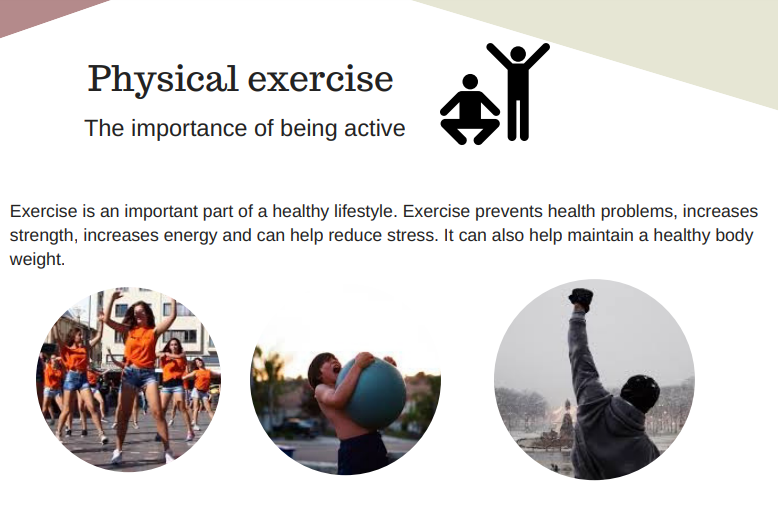 Exercise is an important part of a healthy lifestyle. Exercise prevents health problems, increases strength